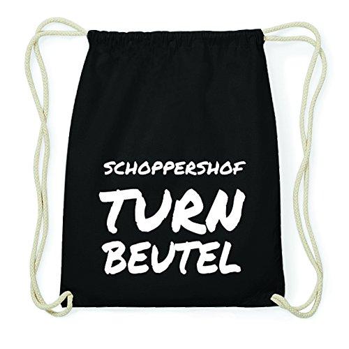 JOllify SCHOPPERSHOF Hipster Turnbeutel Tasche Rucksack aus Baumwolle - Farbe: schwarz Design: Turnbeutel
