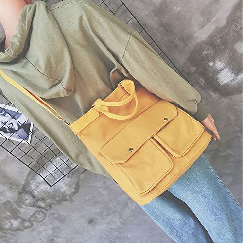 de del bolsa damas sencilla del Harajuku mensajero de coreanos bolsa amarillo Corea fuego estudiantes salvaje LANDONA lona hombro ultra qnxw48Xt