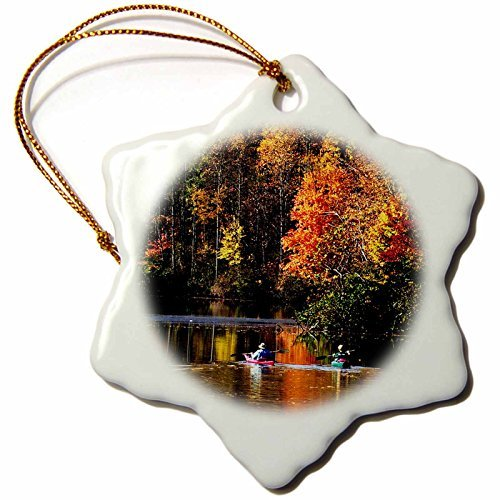 Christmas Ornament Sandy Mertens Ohio - Canoeing on Lake Logan in Autumn at Hocking Hills State Park - Snowflake Porcelain Ornament (Best Canoeing In Ohio)
