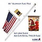 A-One 56'' Tangle Free Aluminum Flagpole for Grommet or House - American US Flag Pole Kit with Anti-wrap Sleeve, Stainless Steel Rust Prevention Clip & Decorative Ball, Silver