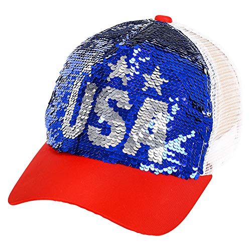 USA Reversible Sequin Baseball Cap Hat~Patriotic Red Blue & White~Fashionable Sequined Mesh Back Trucker Hat