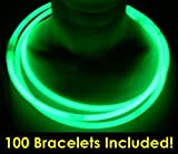"Glow With Us Glow Sticks Bulk Wholesale Necklaces, 100 22"" Green Glow Stick Necklaces +100 FREE Assorted Glow Bracelets! Bright Color, Glow 8-12 Hrs, Connector Pre-attached, Sturdy Packaging, Brand"