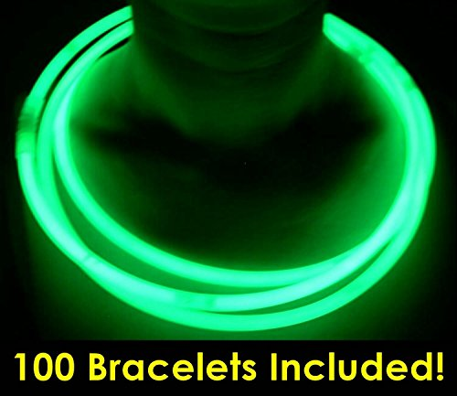 """Glow With Us Glow Sticks Bulk Wholesale Necklaces, 100 22"""" Green Glow Stick Necklaces +100 FREE Assorted Glow Bracelets! Bright Color, Glow 8-12 Hrs, Connector Pre-attached, Sturdy Packaging, Brand -"""