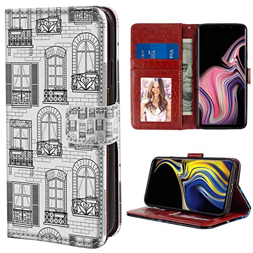 (Geometric Apartment Building Urban Architecture European Windows City Town Illustration Grey White Leather Case for Galaxy Note 9 [6.4