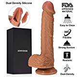 Adoniser 9 Inch Realistic Dildo - Dual Density Body-safe Liquid Silicone Soft Bendable Lifelike Penis with Strong Suction Cup Secret Package, Cock Anal Sex Toys for Masturbation