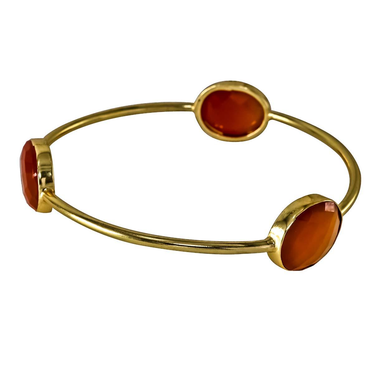Handmade Bangles /& Bracelets Stackable, Bezel 65 Cms Carnelian 18k Gold Plated Brass
