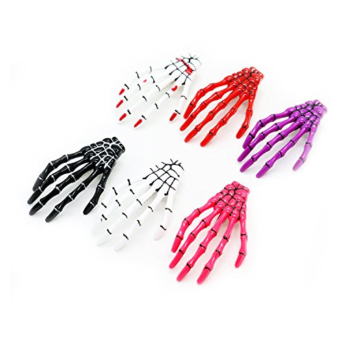 HUELE 6 Pairs Assorted Colors Women Skeleton Hand Bone Claw Punk Hair Clip