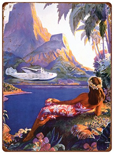 Pacifica Island Art 12in x 16in Vintage Hawaiian Tin Sign - Fly to The South Seas Isles by Paul George Lawler ()