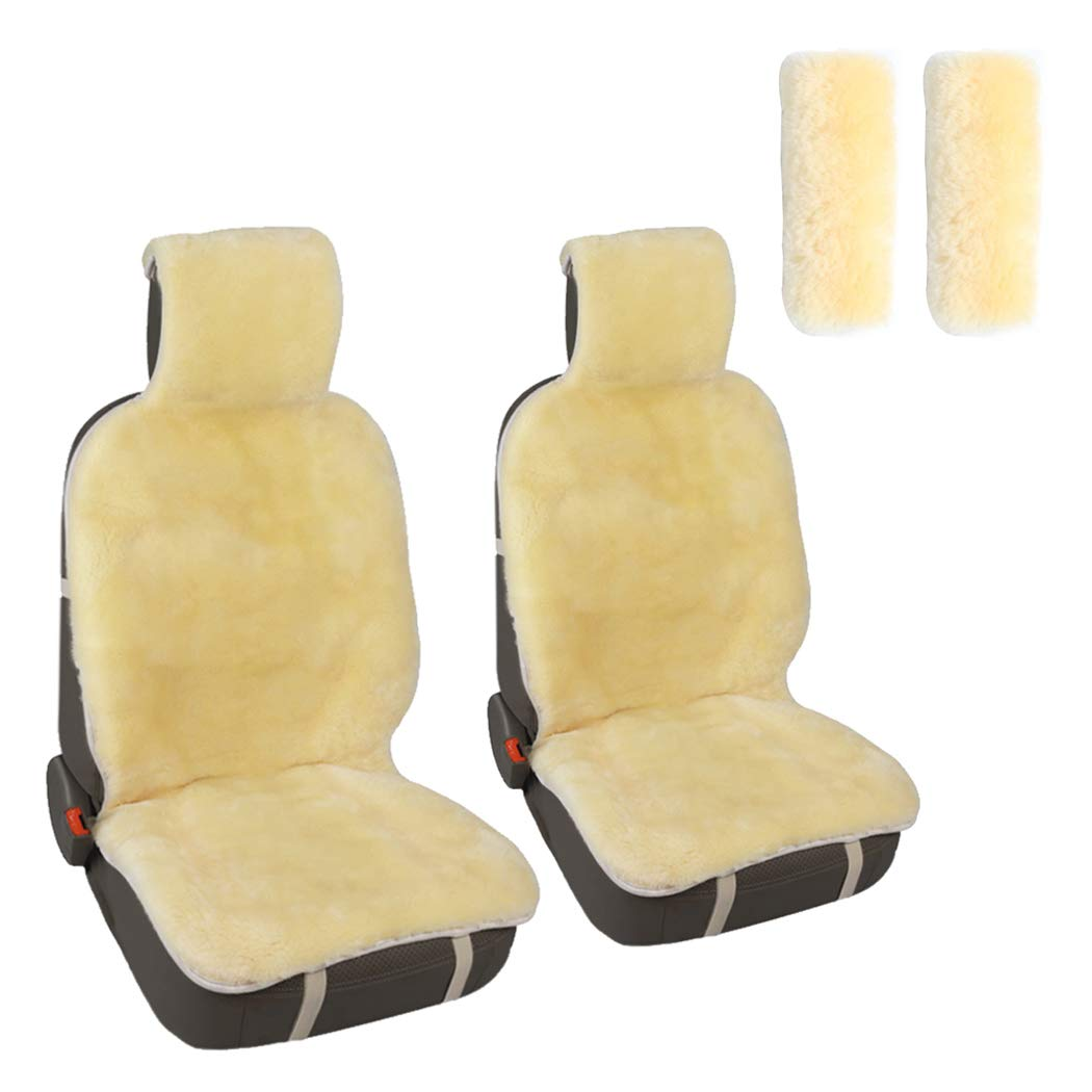 Leader Accessories Auto 2Pcs / 2 Front Sheepskin Seat Cushions and 2Pcs Seat Belt Covers,Shoulder Pads Fit for Car,Truck,SUV Champagne