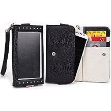 Black/Light Gray Window Wristlet Wallet Case for ZTE Awe, Engage, Flash, Kis 3 Max, Majesty, Maven, N9510C, Open C, PF112 HD, Savvy, Source, Warp 4G, Z750C Savvy, Z795G Solar Smartphone