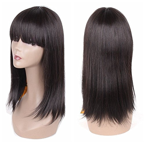 (Jiayi Wig with Bangs for Black Women Straight Yaki Synthetic Full Hair Wig Heat Resistant Black Bob Wig for Daily Wear(16