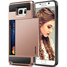Galaxy Note 5 Case, Vofolen Galaxy Note 5 Wallet Case Card Holder Slot Dual Layer Protective Cover Anti-scratch Hard Shell Shock Absorbing TPU Soft Tough Bumper Armor Case for Galaxy Note 5 -Rose Gold