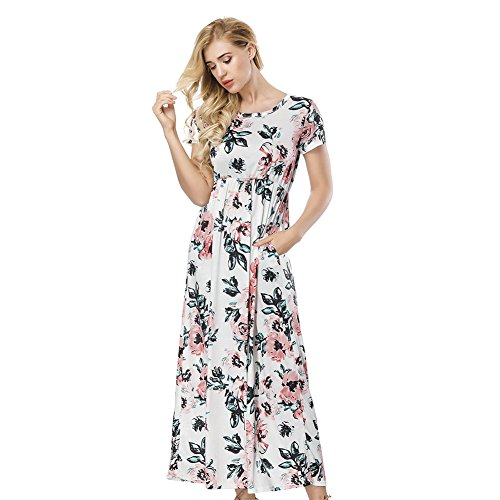 ORICSSON Womens Short Sleeve Dress Floral Print High Waist Casual Tunic Long Midi with Side Pockets White ()