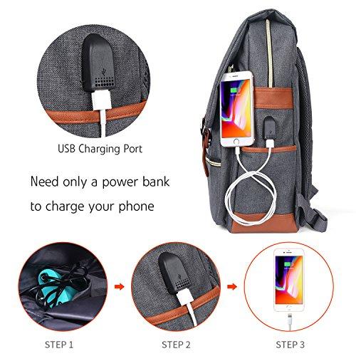 Business Laptop Rucksack mit USB-Ladeanschluss Notebook Backpack Schulrucksack mit viel Stauraum 15.6 Zoll 8hJr6VL8