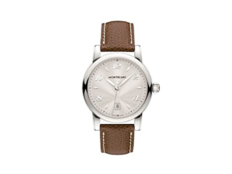 Montblanc Star Date 108762 39mm Stainless Steel Case Brown Calfskin Anti-Reflective Sapphire Womens Watch