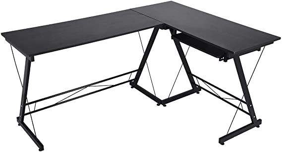 Pratcgoods Simple Home Office Desk Corner Computer Gaming Table Modern Style Steel Pipe Feet Multipurpose Desk can Placed Keyboard