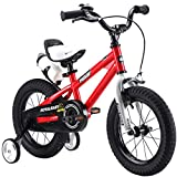 RoyalBaby BMX Freestyle Kids Bike, Boy's Bikes and Girl's Bikes with training wheels, Gifts for children, 18 inch wheels, Red