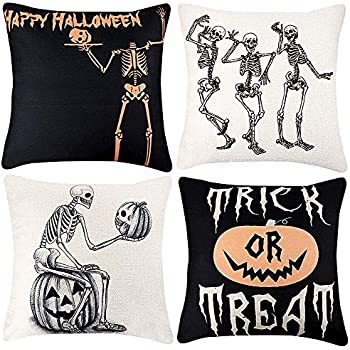 TERUNPU Halloween Skull and Pumpkin Throw Pillow Covers Cotton Linen Pillow Case Cushion Cover for Home Decor 18 x 18 Inch