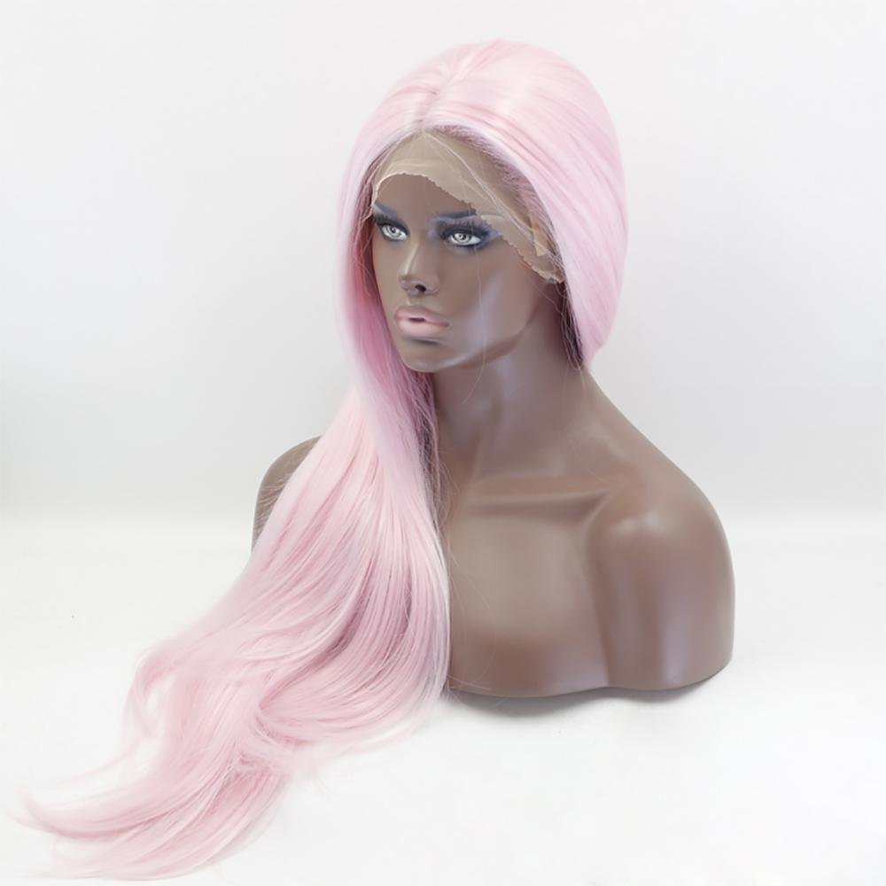 sorteos de estadio XUAN Sintético alta temperatura alambre peluca peluca rosa rosa rosa de encaje frontal larga recta pelo  entrega de rayos