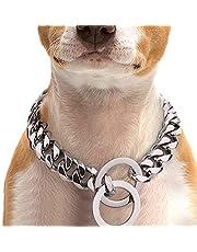 A+TTXH+L Hondenhalsband Metalen huisdier hondenketting kraag roestvrij staal training choke slip halsband leiband voor medium grote honden pitbull pug bulldog goud