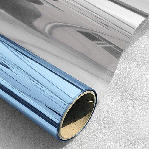 HIDBEA Window Screen Film Tint No Glue Static Cling Heat Block Mirror Film Self Adhesive One Way Home Privacy Decorative Sticker,Blue-Silver (35.4