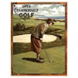 Wood-Framed Championship Golf Women Metal Sign: Sportsman Decor Wall Accent for kitchen on reclaimed, rustic wood