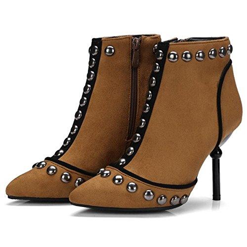Women Side Zipper Bootie Brown COOLCEPT Fashion pw76vdq1q