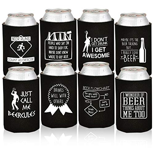 Funny Beer Can Coolers - 8 Pack Party Favor Drink Coolies - Valentines Day Gift for Men, Bachelor/Stag Parties - Novelty Beverage Insulators with Clever Jokes and Sayings for Beer Drinking Man