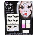broken Fun World Women's Broken Doll Makeup Kit Halloween Face, Multi, Standard