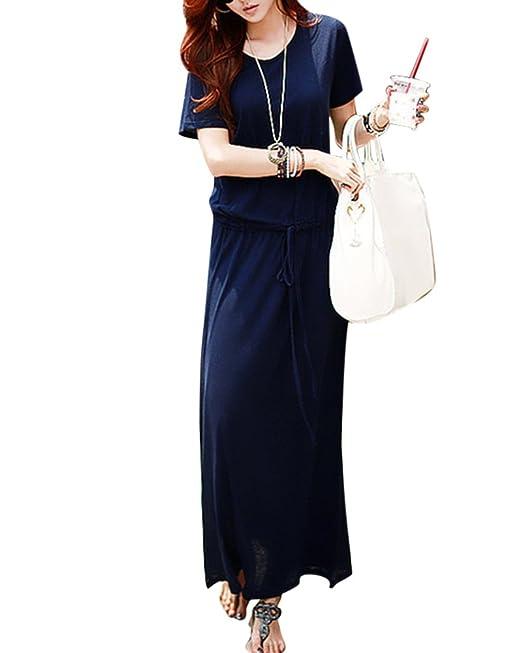 Mujer Vestido De Fiesta Manga Corta Elegante Maxi Vestido De Noche Suelto Casual Playa Falda Azul