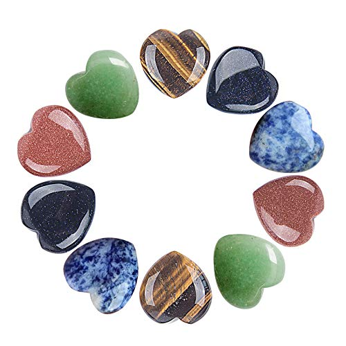AMOYSTONE 10pcs Chakra Heart Shaped Stones Crystal Therapy Chakra Balancing Reiki Healing Meditation Massage Energy Yoga and Decoration ()