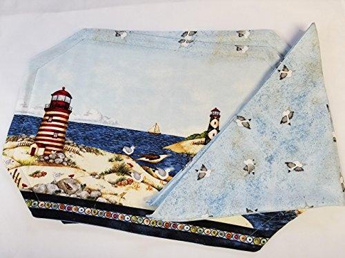 (Nautical Lighthouse 4pc Bundle 2 Placemats 2 Napkins)