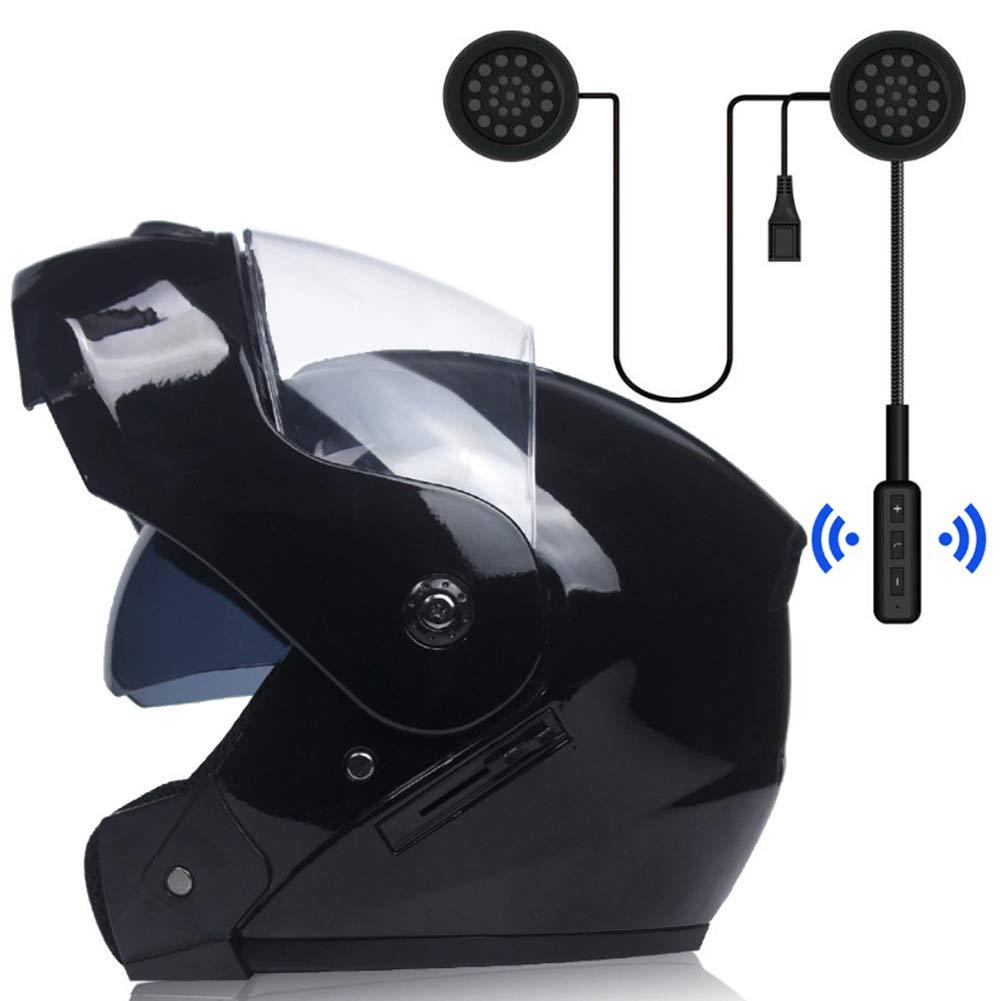 modulare Flip Up doppia visiera casco da motocross per uomo//donna MOPHOTO Casco integrale da moto con auricolare Bluetooth nero opaco con auricolare
