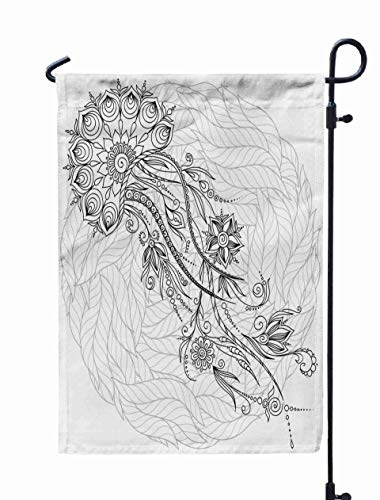 Shorping Welcome Garden Flag, 12x18Inch Pattern Coloring Book Coloring Pages Kids Adults Abstract Graphic Jellyfish in Henna Tattoo Style for Holiday and Seasonal Double-Sided Printing Yards Flags ()