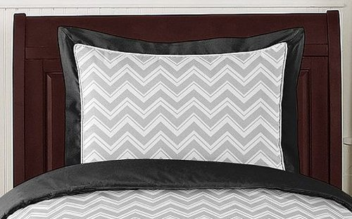 Sweet Jojo Designs 3-Piece Black and Gray Zig Zag Children's, Kids, Teen Full / Queen Girl or Boy Chevron Bedding Set