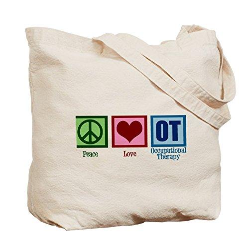 CafePress–Pace Love ot–Borsa di tela naturale, panno borsa per la spesa