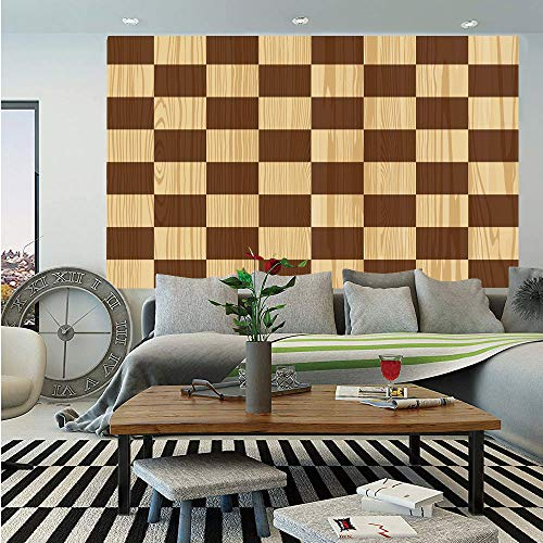 (SoSung Checkered Removable Wall Mural,Empty Checkerboard Wooden Seem Mosaic Texture Image Chess Game Hobby Theme,Self-Adhesive Large Wallpaper for Home Decor 66x96 inches,Brown Light Brown)