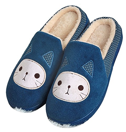Maybest Skid for Plush Slippers Blue Cartoon House Women's Men Proof Fleece Premium AwHAqf