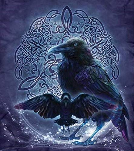 5D DIY Diamond Painting Full Square Drill Black Crows Ravens Rhinestone Embroidery for Wall Decoration 18x24 Inch