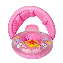 Baby Float, Botitu® Sunshade Inflatable Swimming Floats for Babies Kids Infant Pool Float with Lovely Removable Canopy, Suitable for 3 Years Kids Spring Float(pink)