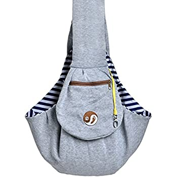 Hands Free Dog Puppy Sling - Grey Dog Carrier Sling, Zipped Pocket, Waterproof Bag for Small Dogs, Cat, Rabbit, & Puppies - Shoulder Reversible Double Sided Pouch Portable Puppy Carrier, Timetuu Buy