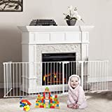 Bonnlo 145-Inch Metal Fireplace Fence Guard 6-Panel Baby Safety Gate/Barrier/Play Yard with Door Christmas Tree Fence Hearth Gate for Kids/Pet/Toddler/Dog/Cat, White