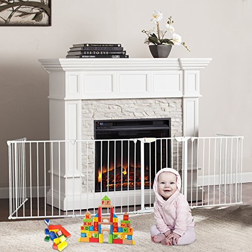 Bonnlo 145-Inch Metal Fireplace Fence Guard 6-Panel Baby Safety Gate/Barrier/Play Yard with Door Christmas Tree Fence Hearth Gate for Kids/Pet/Toddler/Dog/Cat, White ()