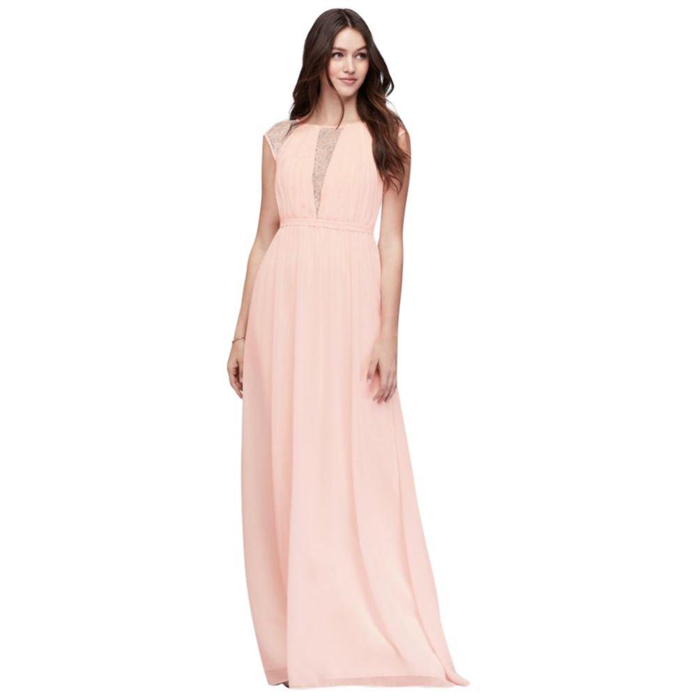 David\'s Bridal Chiffon Bridesmaid Dress with Metallic Lace Inset ...
