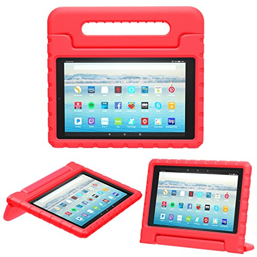 MoKo Case for Amazon Fire HD 10 Tablet (5th/7th Generation, 2015/2017 Release), Kids Shock Proof Convertible Handle Light Weight Super Protective Stand Cover Case for Fire HD 10.1 Inch Tablet, RED