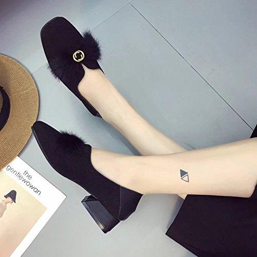 Cabeza Cuadrada de Boca Baja Conjuntos de Zapatos de Calzado con un Pequeño Bajo con Los Zapatos de Lana Sexy de Las Mujeres , negro , EUR38