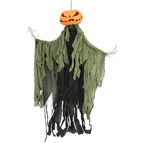Halloween Haunters Hanging Pumpkin Man with Branch Hands Prop Decoration]()