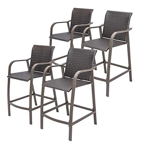 Crestlive Products Counter Height Wicker Bar Stools All Weather Patio Furniture with Heavy Duty Aluminum Frame in Antique Brown Finish for Outdoor Indoor, 4 PCS Set (Brown Wicker)