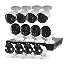 Swann POE Security Camera System, 5MP Super HD NVR Wired Home Surveillance, 16 Channel 12 Bullet Cameras, 2TB Hard Drive, Audio Capture, Weatherproof, Color Night Vision, Heat & Motion Sensor Light