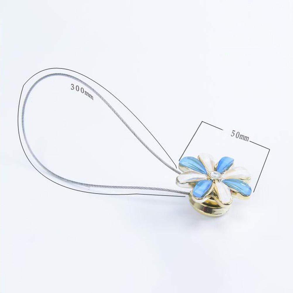 Fiore di freschezza e Strass Beige P12cheng Fermatenda Magnetico fermatenda Clip per Tende